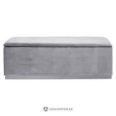 Pilkas aksominis suolas su dėže dėžutei (šiurkštus) (dėžutėje, visa)
