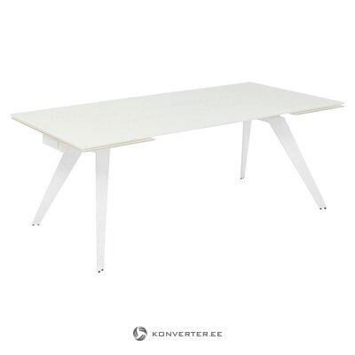 Balts pagarināms pusdienu galds (aptuvens dizains) (ar skaistuma defektiem, zāles paraugs)