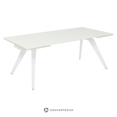 Baltas pailginamas valgomojo stalas (grubus dizainas) (dėžutėje, visas)