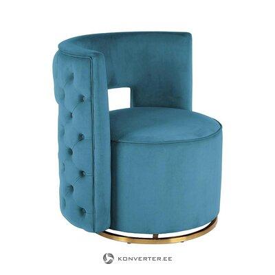 Zila samta dizaina atzveltnes krēsls (lalée) (ar kastīti, vesels)
