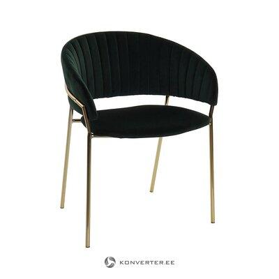 Tumši zaļi zeltaini samta krēsls (detall item) (viss, zāles paraugs)