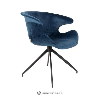 Blue-black velvet chair (zuiver) (with defects., Hall sample)