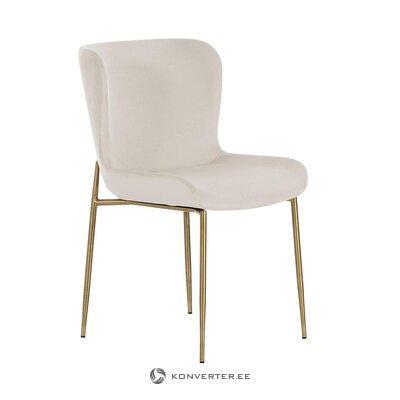 Bēša-zelta samta krēsls (tess) (nelieli trūkumi zāles paraugs)