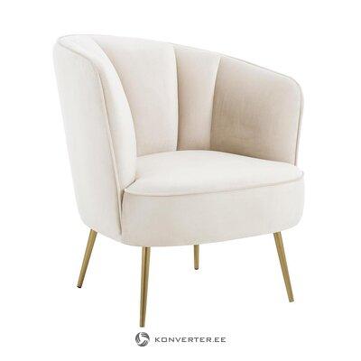 Bēša samta krēsls (Louise) (vesels, kastē)