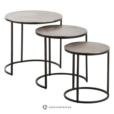 Black-silver coffee table set 3 pcs (jill & jim designs)