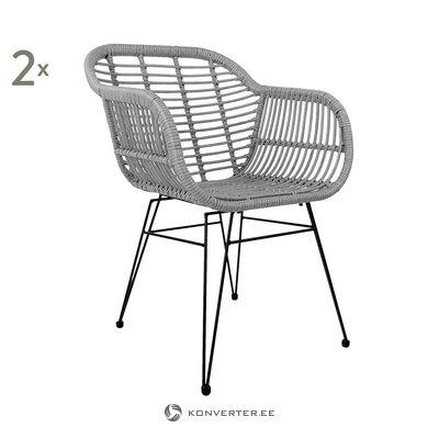 Кресло садовое дизайнерское серое (коста) (с дефектами., Холл образец)