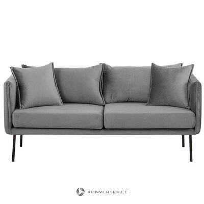 Gray velvet sofa (ivy) (defective., Hall sample)