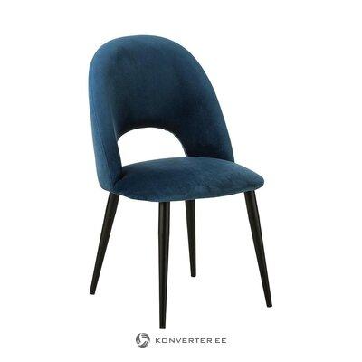 Mėlyna aksominė kėdė (Rachel) (su grožio defektais, salės pavyzdys)
