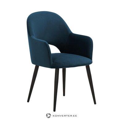 Tamsiai mėlynos spalvos aksominis fotelis (Rachel)