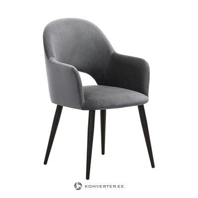 Harmaa-musta samettinen nojatuoli (rachel) (pieniä puutteita salinäyte)