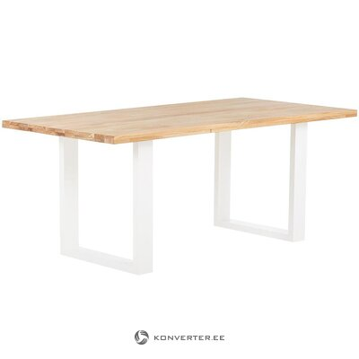 Solid wood dining table (jill & jim designs) (with defects., Hall sample)