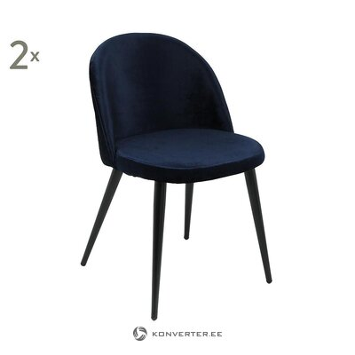Dark blue velvet chair (anderson) (in the hall, with a flaw)