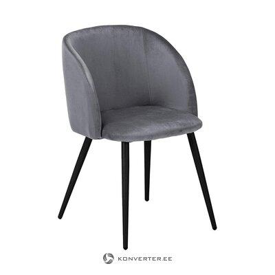 Pilkai juoda aksominė kėdė (jella & jorg) (visa, dėžutėje)