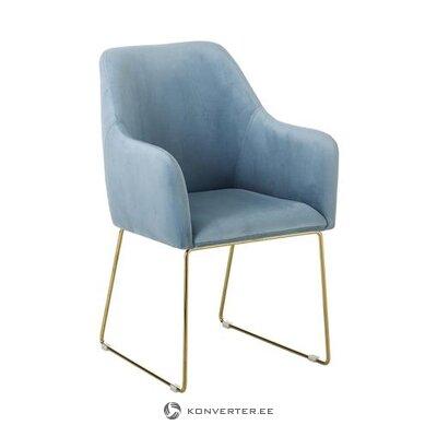 Šviesiai mėlynas aksominis fotelis (isla) (salės pavyzdys, nedidelis grožio defektas)