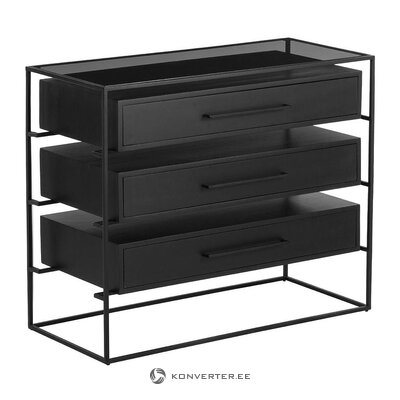Black chest of drawers with glass top (lyle)