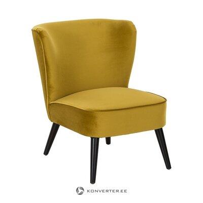 Alyvuogių geltono aksomo fotelis (robine) (su grožio defektais. Salės pavyzdys)