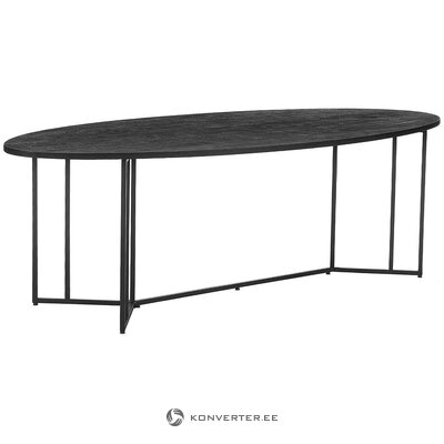 Black mango wooden dining table (luca) (with defects., Hall sample)