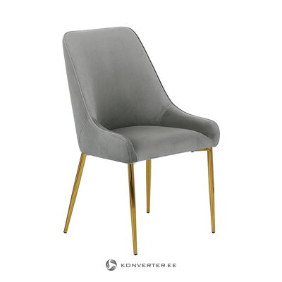 Gray-golden velvet chair (aperture) (with beauty defects., Hall sample)