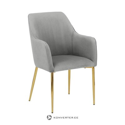 Light gray-golden velvet chair (aperture) (with imperfections, hall sample)
