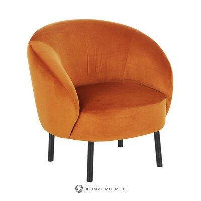 Oranžinis aksominis fotelis (freja) (dėžutėje, visas)