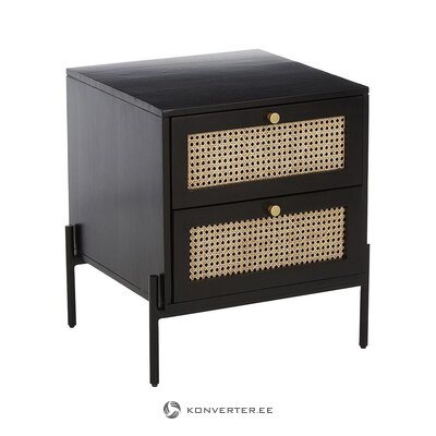 Solid wood black bedside table (vienna) (whole)