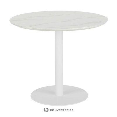 Baltas apvalus valgomojo stalas su marmuro imitacija (karla) (dėžutėje, visa)