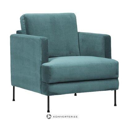 Green velvet armchair (fluente) (with flaw hall sample)