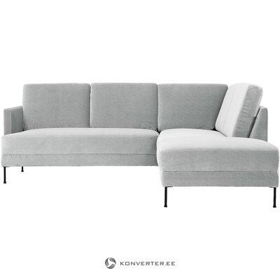 Šviesiai pilka aksominė kampinė sofa (laisva) (su grožio defektais., Hall pavyzdys)