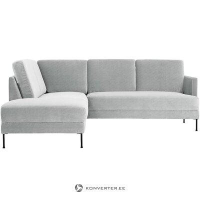 Šviesiai pilka aksominė kampinė sofa (laisva) (visa, dėžutėje)