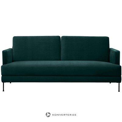 Tamsiai žalia aksominė sofa (laisva) (salės pavyzdys, su grožio defektu,)