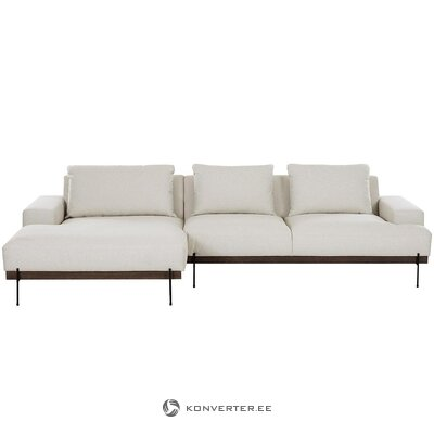 Bēšs-melns stūra dīvāns (straumi) (vesels, kastē)