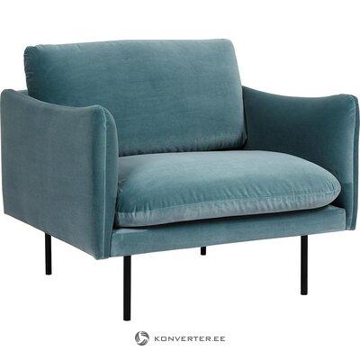 Tirkīza samta krēsls (Moby) (mazs skaistuma defekts, zāles paraugs)