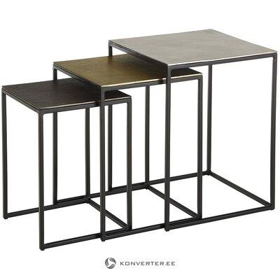 Metāla kafijas galdiņu komplekts 3 gab. (Dwayne) (vesels, kastē)