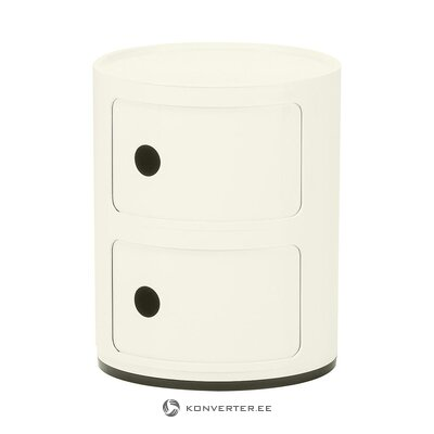 White high-gloss design bedside table (cartel) (whole, hall sample)