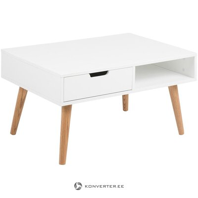 White-brown coffee table with drawer (actona)