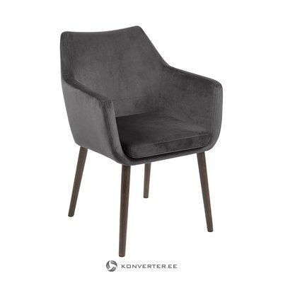Tumši pelēks samta krēsls (actona) (kastē, vesels)
