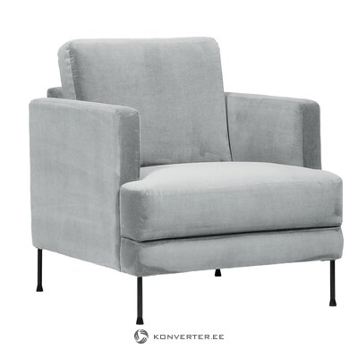 Pilko aksomo fotelis (fluente) (visas, salės pavyzdys)