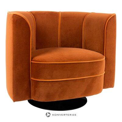 Orange swivel velvet armchair (dutchbone)