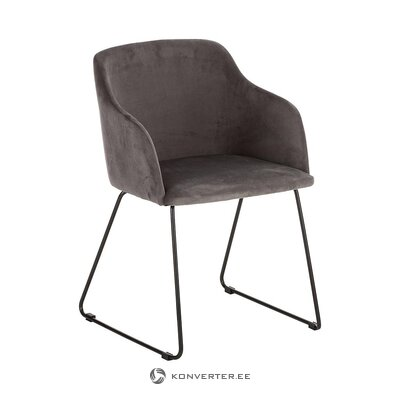 Gray velvet chair (interstil dänemark) (whole, in box)