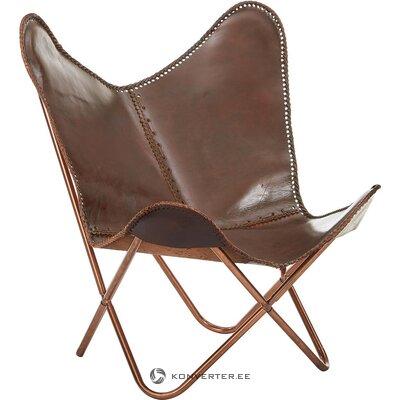 Brūns ādas dizaina krēsls (aptuvens dizains) (zāles paraugs, vesels)