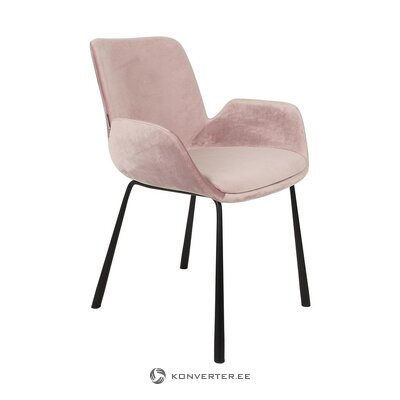 Pink-black velvet chair (zuiver) (whole, hall sample)
