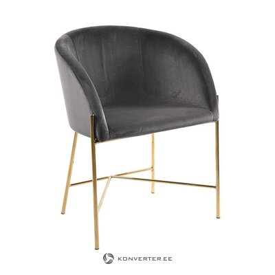 Dark gray velvet soft chair (interstil dänemark) (whole, in box)