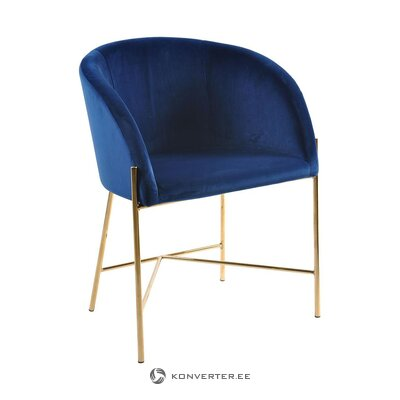 Dark blue-golden velvet chair (interstil dänemark) (whole, in box)