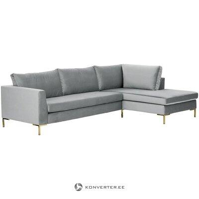 Pelēks samta stūra dīvāns (luna)