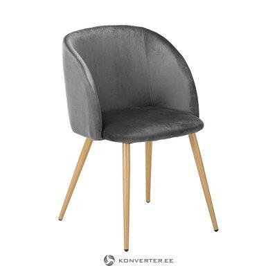 Pelēks-brūns samta krēsls (Jella & Jorg) (kastē, vesels)