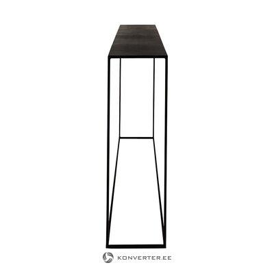 Juodojo metalo siauros konsolės stalo ekspozicija (zago) (salės pavyzdys, yra grožio trūkumų)