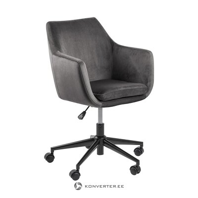 Gray velvet office chair (actona) (hall sample, with defects.,)