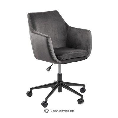 Серый бархатный офисный стул (actona) (целый, в коробке)