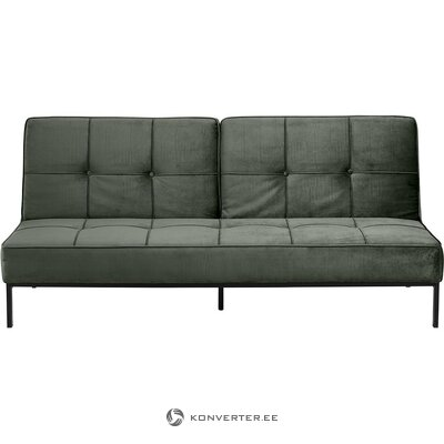 Green velvet sofa bed (actona) (hall sample, with flaw)