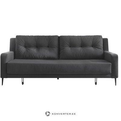 Pilka-juoda aksominė miegamoji sofa (bobochic paris) (visa, dėžutėje)